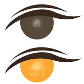 Home icon on expression of eye — Stock Photo