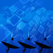 Satellite dish on world map background — Stock Photo