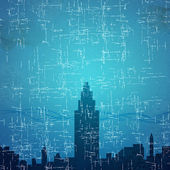 City on grunge paper texture and background — Stock Photo