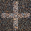Plus icon on coffee texture and background — Foto de stock #13628850