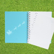 Book with santa icon on grass background  — Stock Photo
