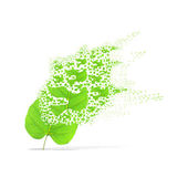Green leaf of peace on white background — Stock Photo