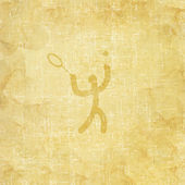 Sport tennis icon on old paper background and textured — Stock Photo