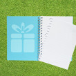 Book with Christmas gift box icon on grass background — Stock Photo