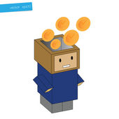 Clock in head box, concept business — Stock Vector
