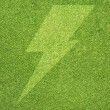 Thunderbolt on grass background and texture — Stock Photo