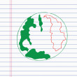 Stock Vector: Drawing earth on paper