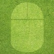 Mouse icon on green grass background — Stock Photo