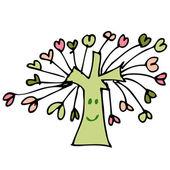 Desenho árvore do coração — Vetor de Stock