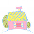 Drawing houses — Stock Vector