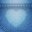 Heart icon on jean background — ストック写真