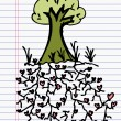 Drawing heart and tree, concept — Image vectorielle