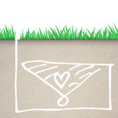 Green grass with heart icon in soil — Stock Photo