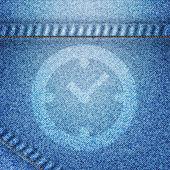 Clock icon on jean background — Stock Photo