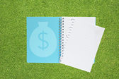 Money icon on green grass texture and background — Stock Photo