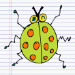Drawing ladybug on paper - Stock Vector