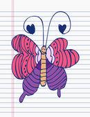 在纸上绘图蝴蝶 — 图库矢量图片