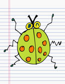Drawing ladybug on paper — Stock Vector