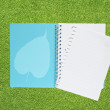 Leaf icon on green grass texture and background — Stockfoto #23807579