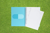 Medicine icon on green grass texture and background — Stock Photo
