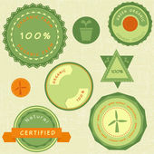 Collection of retro green organic labels — Stock Vector