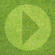 Play icon on green grass texture and background  — Stock Photo
