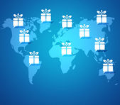 Gift box button on world map background — Stock Photo