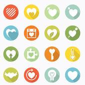 Heart icons long shadow design — Stock Vector