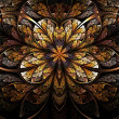 Symmetrical flower, warm and bright fractal art design — Foto Stock