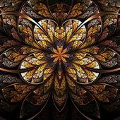 对称花、 温暖和明亮的分形艺术设计 — 图库照片