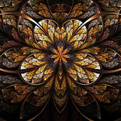 Symmetrical flower, warm and bright fractal art design — 图库照片