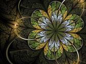 Abstração de flor, verdes e amarelos fractal da Primavera — Fotografia Stock