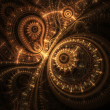 Abstract design of steampunk watch, digital fractal artwork - Foto Stock