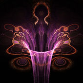 Dark gnarly abstract flower, feminine fractal art design — ストック写真