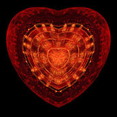 Fiery passionate heart ornament, digital fractal art design — Stock Photo