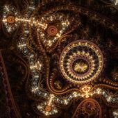 Glossy and shiny gold clockwork, digital fractal art design — Stock Photo