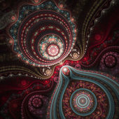 Motif de dentelle colorée sur des roulettes, design d'art digital fractal — Photo