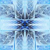 Feathery blue and vivid cross, digital fractal art design — Stock Photo
