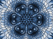 Blue mandala made of hearts, stained glass like pattern — Stock Photo