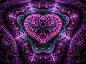 Colorful passionate valentine heart, digital fractal art design — Stock Photo