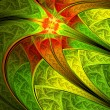 Colorful leafy pattern, digital fractal art, abstract illustration — 图库照片