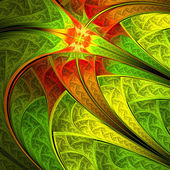 Colorful leafy pattern, digital fractal art, abstract illustration — Stock Photo
