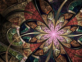 Colorful floral stained glass, digital fractal art illustration — Stock Photo