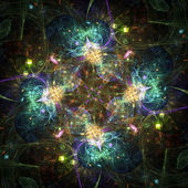 Colorful abstract fireworks or snowflake, digital fractal art — Stock Photo