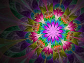Colorful and psychedelic flower, digital fractal art design — Stock Photo