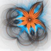 Flor laranja e azul, projeto de arte fractal digital — Foto Stock