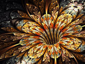 Golden and shiny fractal flower, abstract digital art — Zdjęcie stockowe