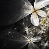 Silver and gold abstract flowers, digital fractal art design — Zdjęcie stockowe