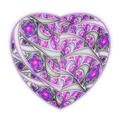 Light abstract heart, digital fractal art for valentine's day — Stock Photo