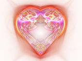 Light and colorful abstract heart, digital fractal art design — Stock Photo